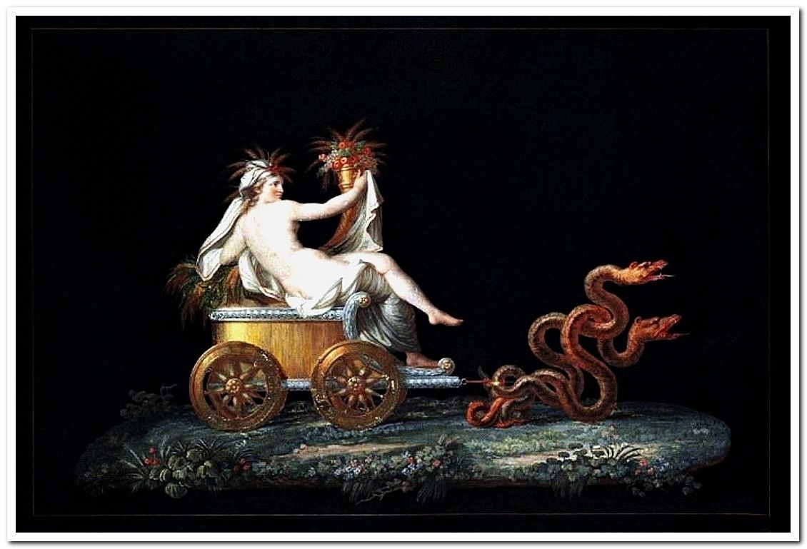 Ceres on a Chariot drawn by Serpents. Michelangelo Maestri. Italian 1779-1812. watercolor/gouache.