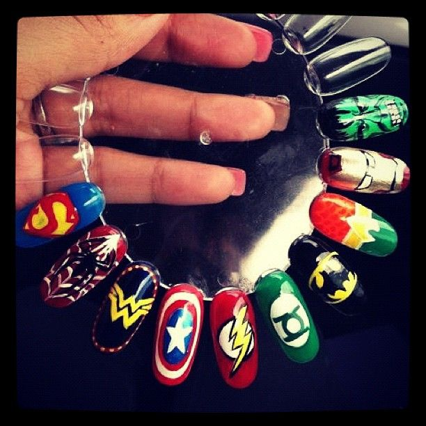 These super hero nails are super cool! - These Super Hero Nails Are Super Cool! Nails Pinterest