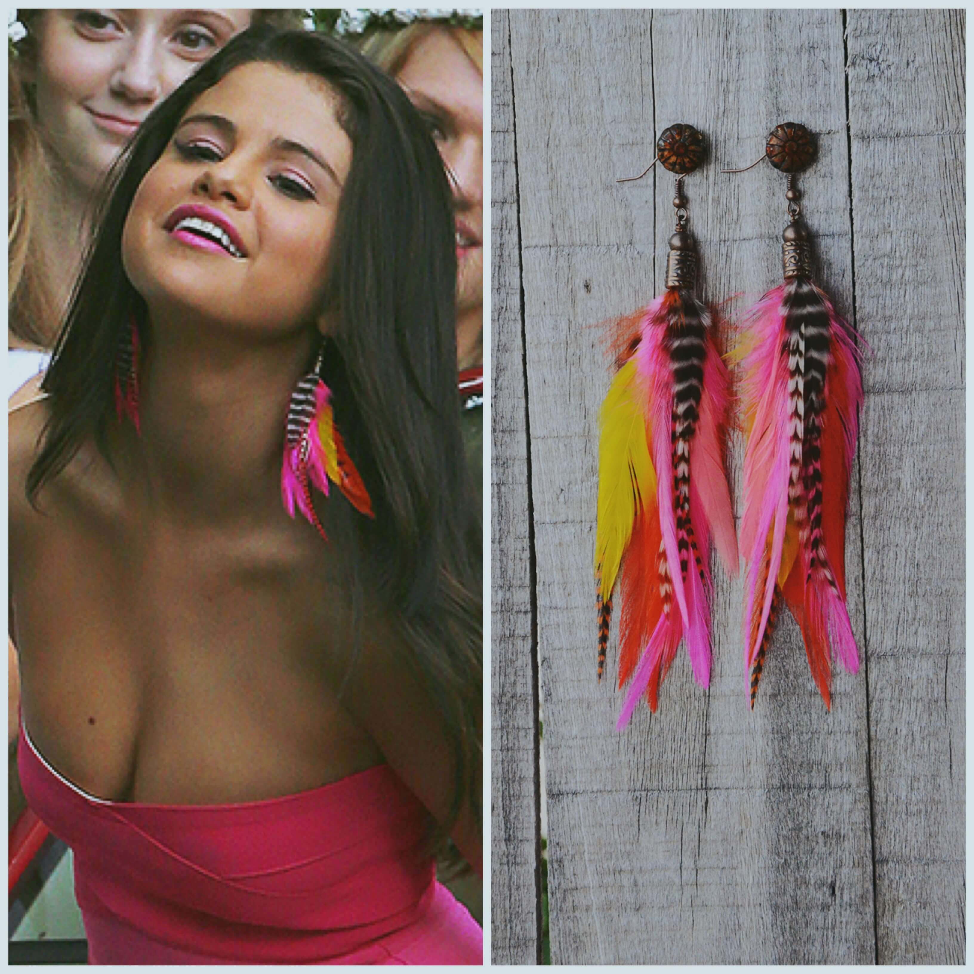 As seen in Neighbors 2. - Real rooster feathers - Lead + nickel free - Bronze beads Cherry Sunset Feather Earrings include red, pink, yellow, orange and natural colored feathers.