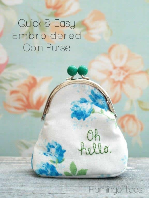 Quick and Easy Embroidered Coin Purse by Flamingo Toes | Gifts ...