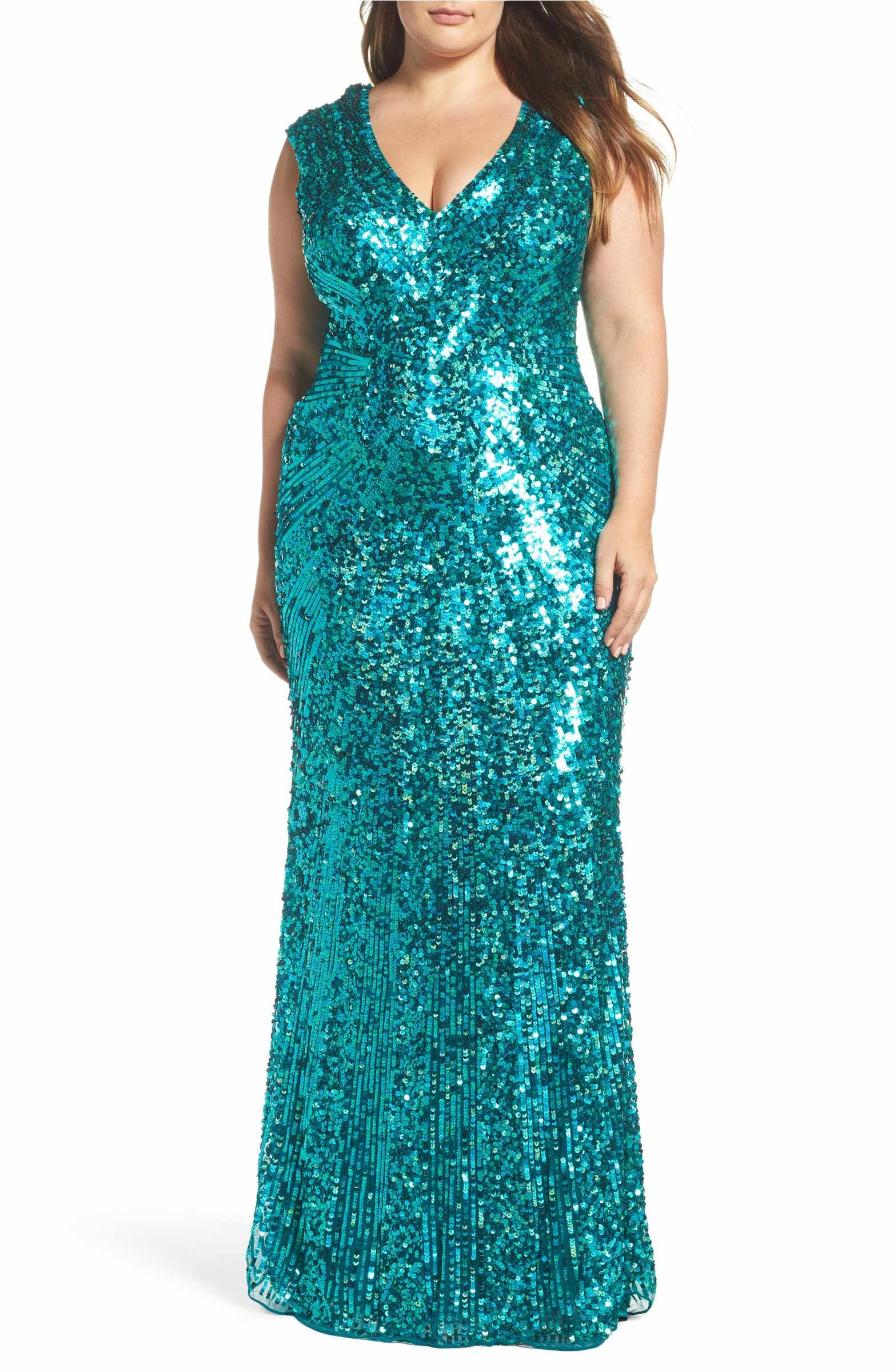 Mac duggal sequin plunging vneck gown plus size fashion and