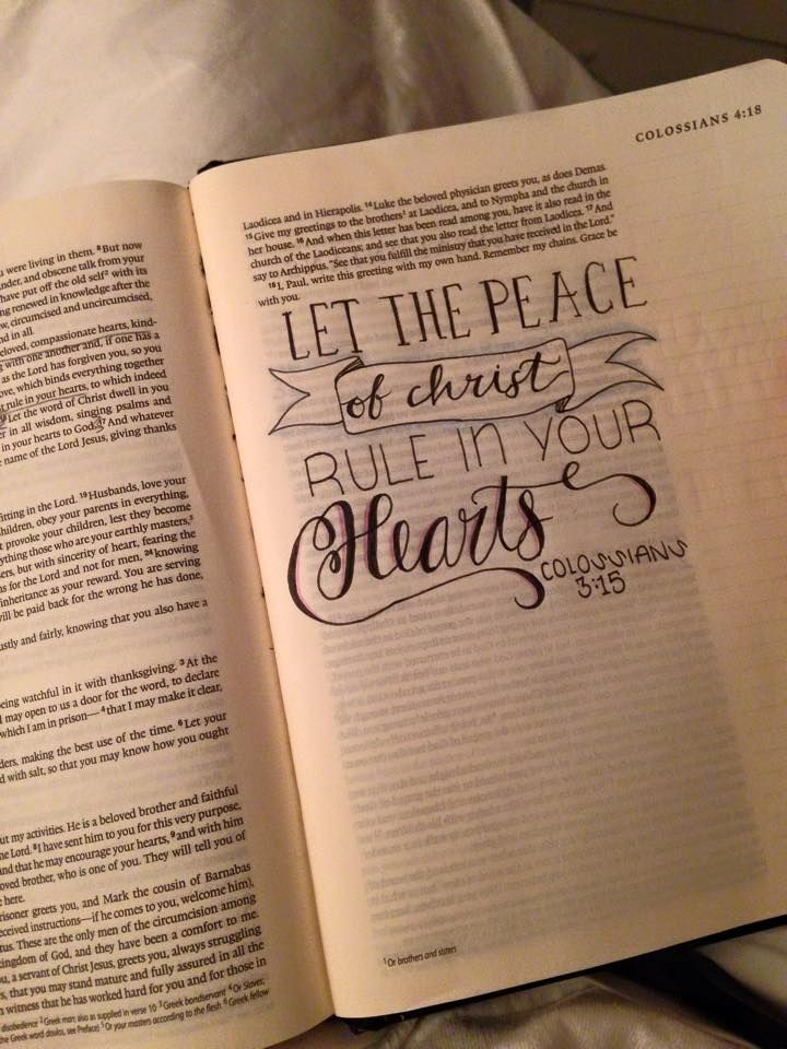 Faith art hand lettering in your bible on colossians 315 for Hand lettering bible journaling