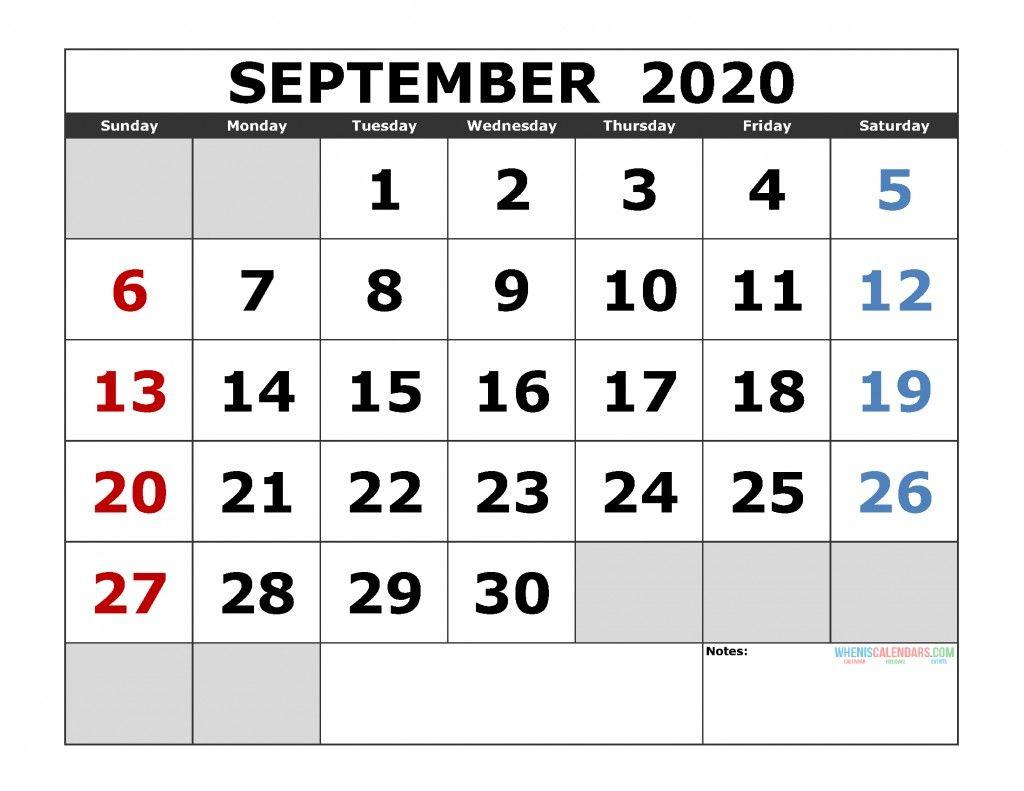 2020 Sept Calendar Printable Calendar Printables Calendar