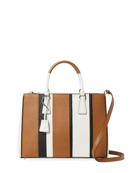 fa59c077f7464e shop baiadera striped galleria double zip medium leather tote by prada at  gilt 74689 8fe18