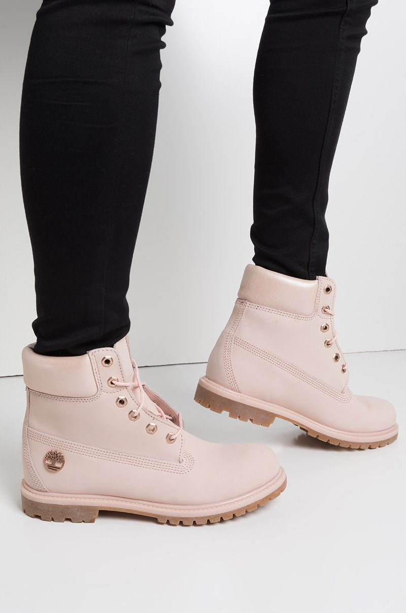e4164d06d457b4 Timberland 6 Inch Premium Waterproof Icon Boots in Light Pink Nubuck With  Metallic Collar