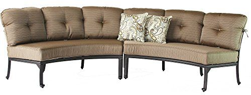 Heritage Outdoor Living Cast Aluminum Elisabeth Patio 2pc Curved Sofa Set Includes Seat Back Cushions Antique Bronze Finish