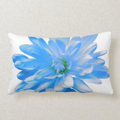 Blue daisy, zinnia, sunflower lumbar pillow