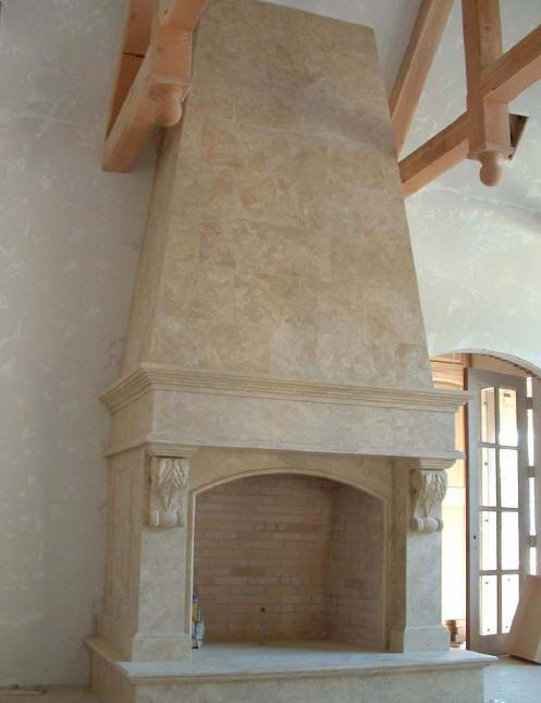 Old World Stone Imports Custom Travertine Fireplace