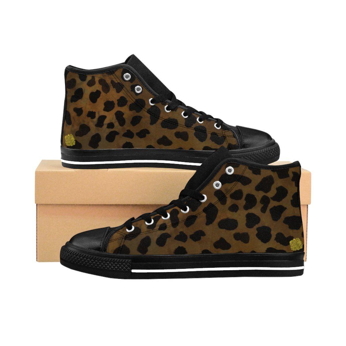 Brown Leopard Print Men's Sneakers