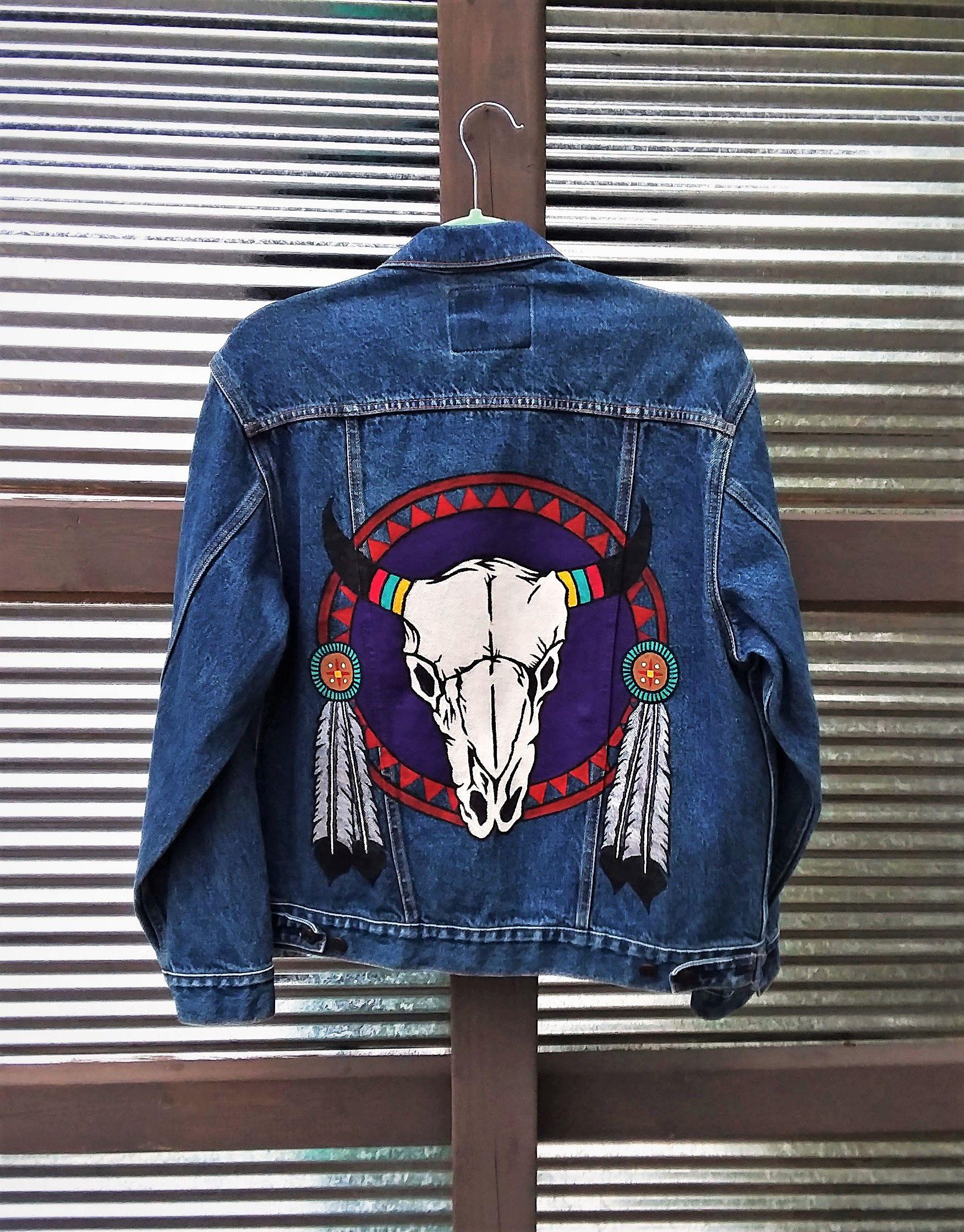 Hand Painted Southwest Cow Skull On Denim Levi S Jean Jacket By Bleudoor On Instagram Hand Painted Denim Jacket Embellished Jacket Farm Clothes [ 2240 x 1752 Pixel ]