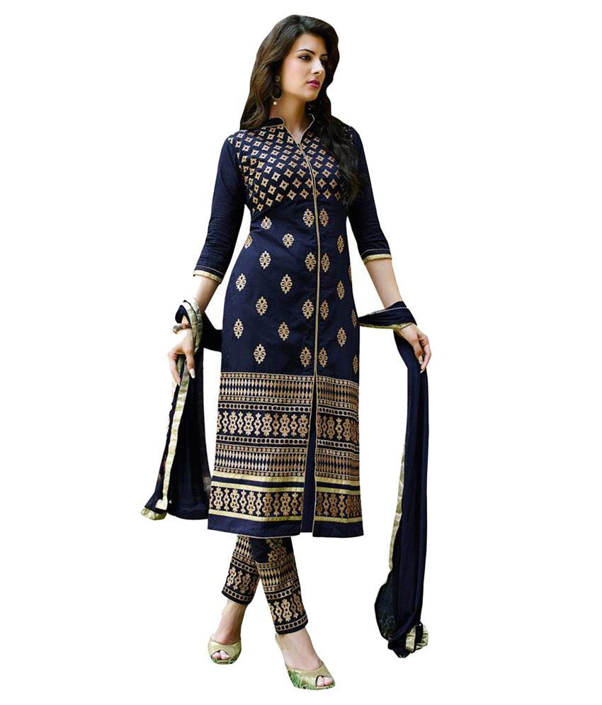 f3230fc979 Aashvi Creation Blue Cotton Dress Material Price in India - Buy Aashvi  Creation Blue Cotton Dress Material Online at Snapdeal