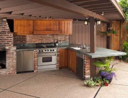Cocina de exterior semicubierta barbacoas de exterior - Cocina exterior ...