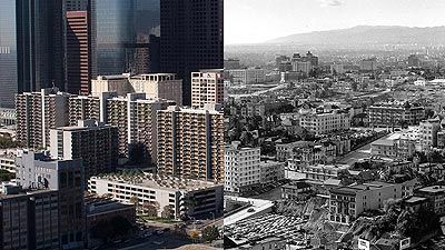 View From Los Angeles City Hall Then And Now Los Angeles City Los Angeles History Los Angeles