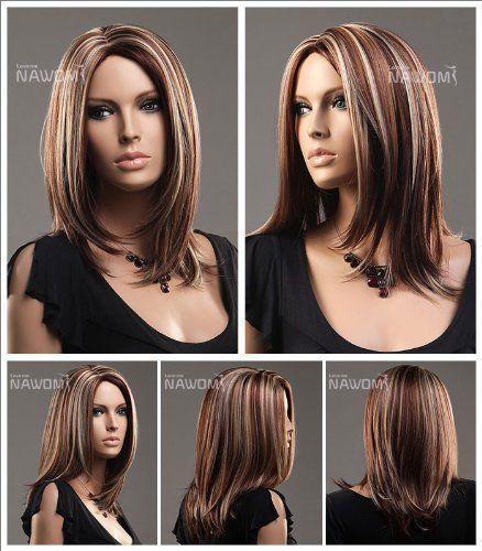 Wg Zl973 33h27h613 Midium Style Straight Hair Wig Brown