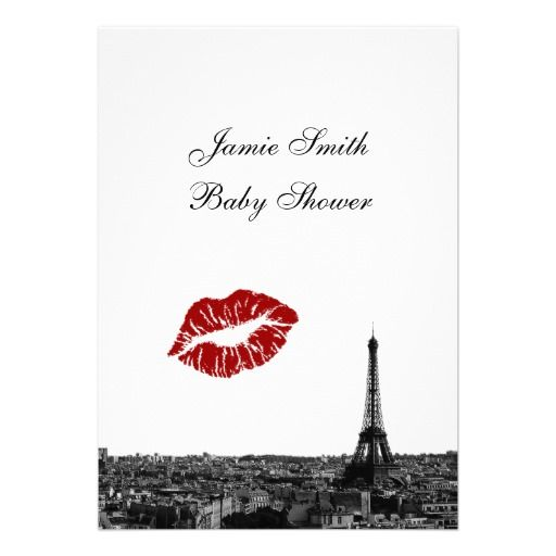 Paris themed Baby Shower Invitations