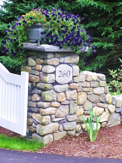 driveway entrance   do this with hand stacked stone? | Landscaping