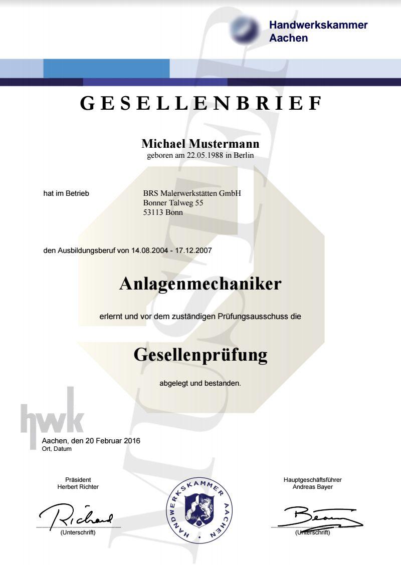 HWK Gesellenbriefe kaufen 14,80 € Gesellenprüfung, Prüfungszeugnis ...