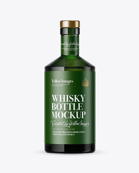 Green Glass Whisky Bottle Mockup