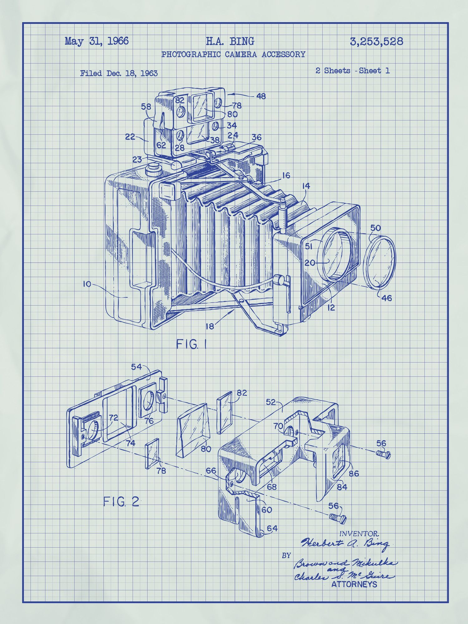 Photographic camera blueprint graphic art pinterest art posters photographic camera blueprint graphic art poster in white gridblue ink malvernweather Choice Image