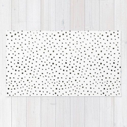 Dalmatian Print Area Rug 2x3 Black And White Polkadot Living Room 3x5 4x6 Animal Throw Bedroom Dorm