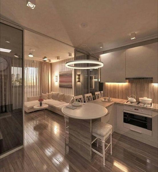 Проект квартиры 42м² с совмещённой кухней-гостиной