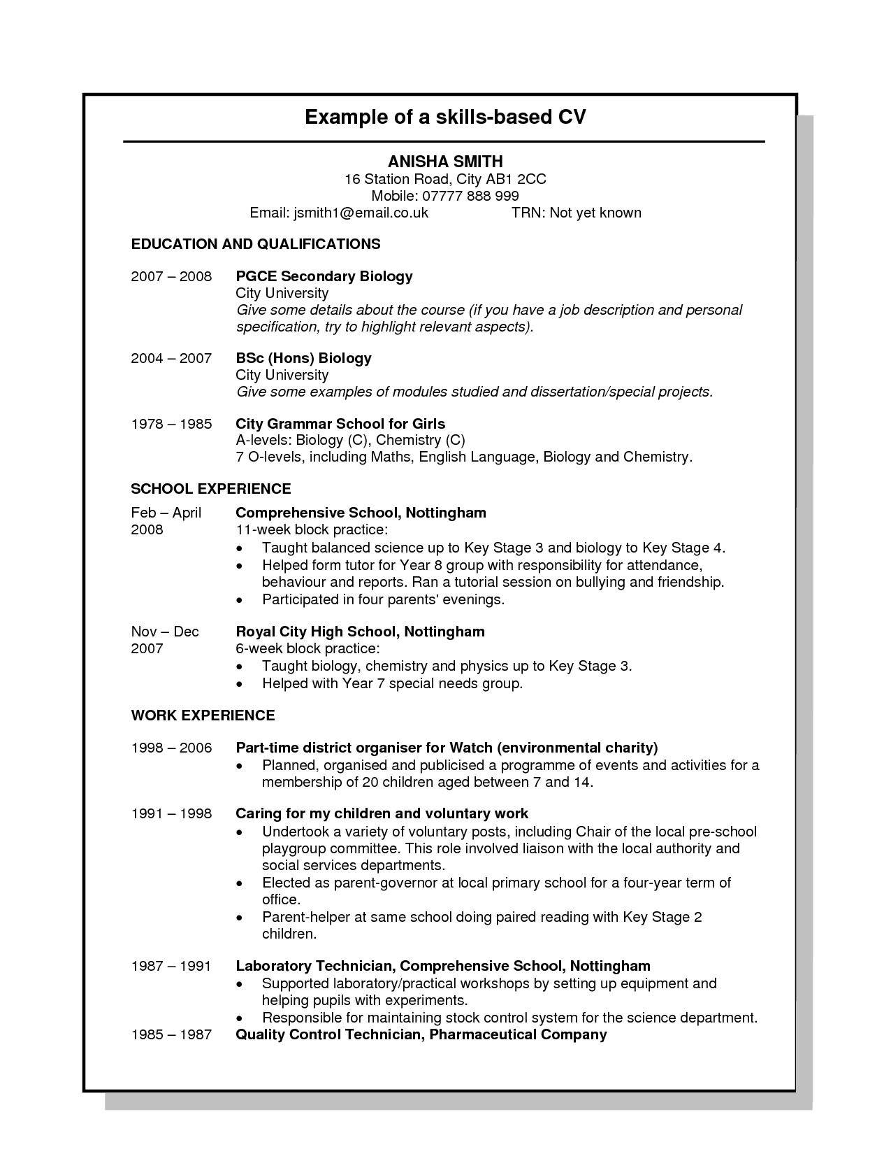 skills based cv template nz