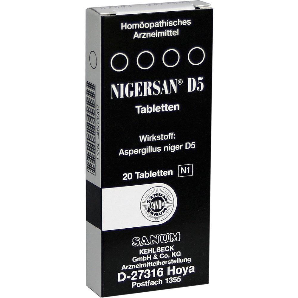 NIGERSAN D 5 Tabletten:   Packungsinhalt: 20 St Tabletten PZN: 04603907 Hersteller: SANUM-KEHLBECK GmbH & Co. KG Preis: 7,75 EUR inkl. 19…
