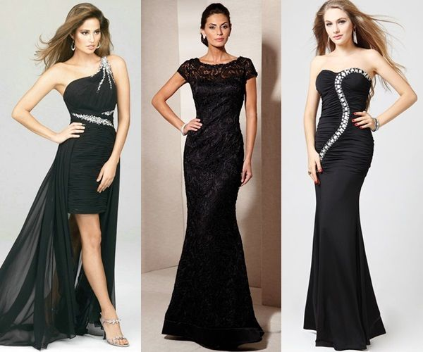 Black Wedding Guest Attire Long Dress