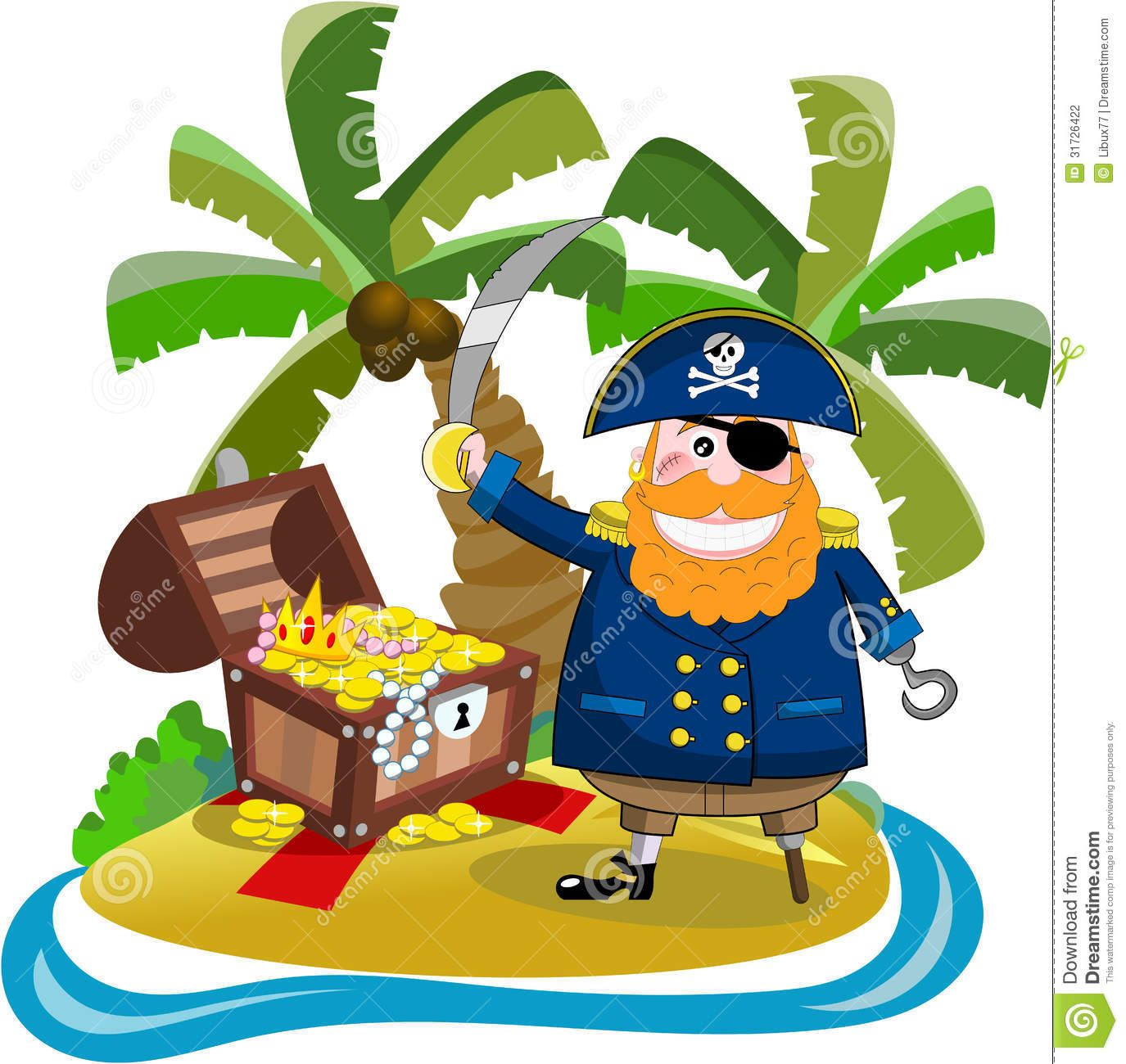 pirate found his treasure treasure island cartoon holding sabre pirate found his treasure treasure island cartoon holding