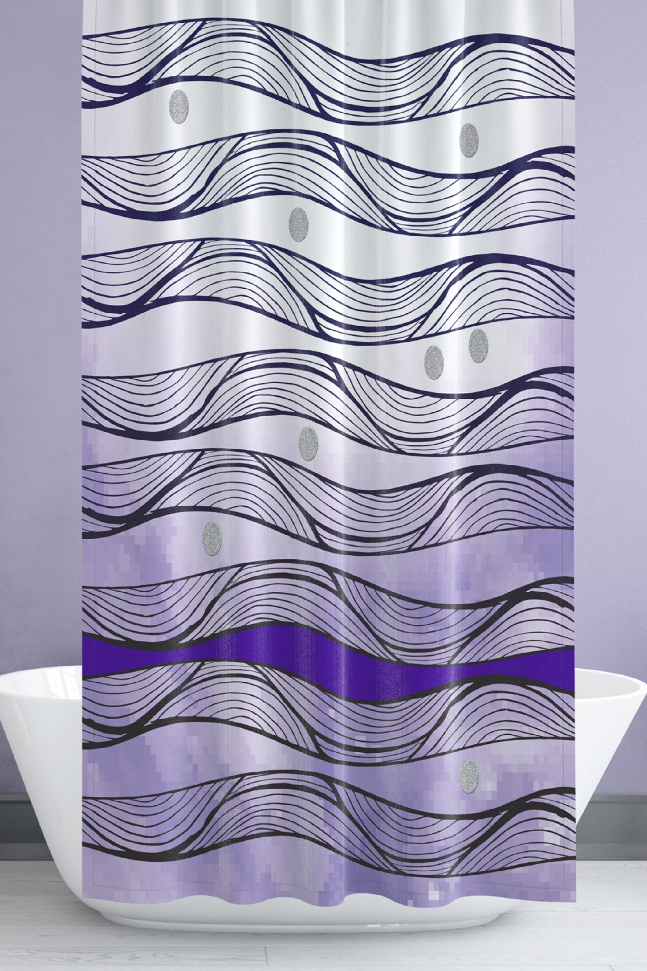 Ombre Shower Curtain Abstract Wave Pattern Buy Here Now Purple