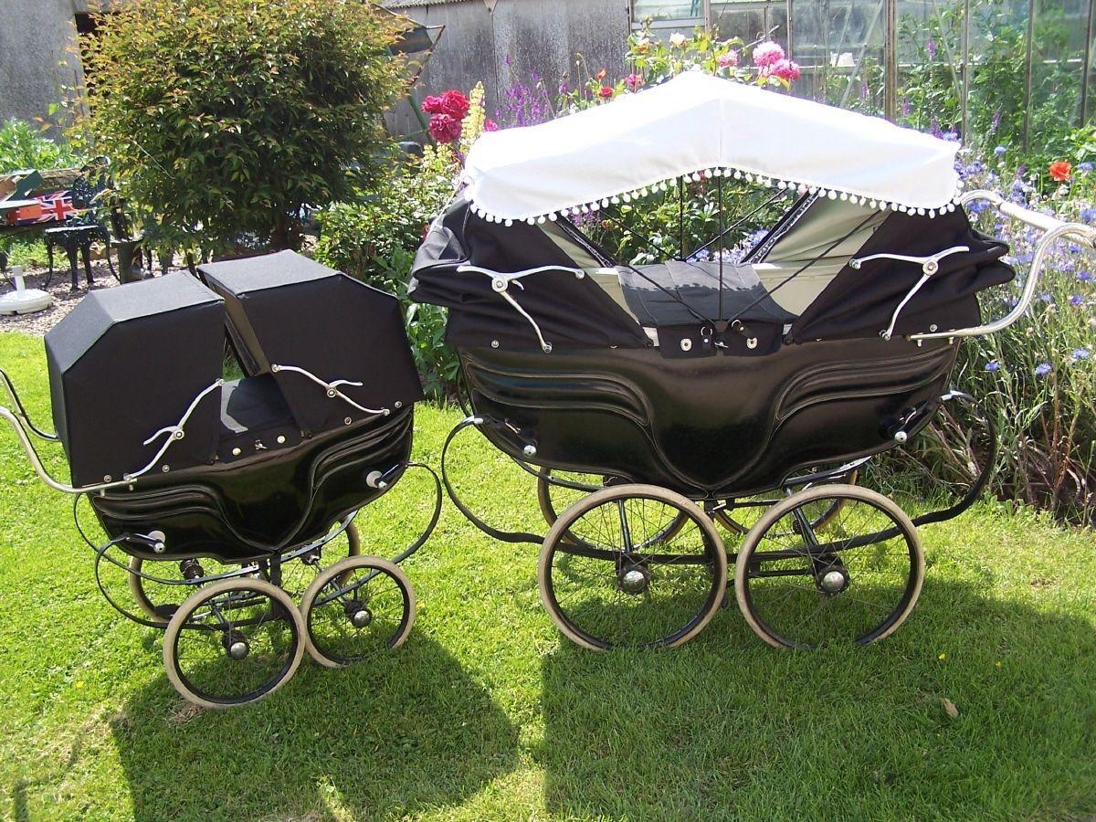Vintage Coachbuilt Carriage Twin Pram Sun Canopy Prams