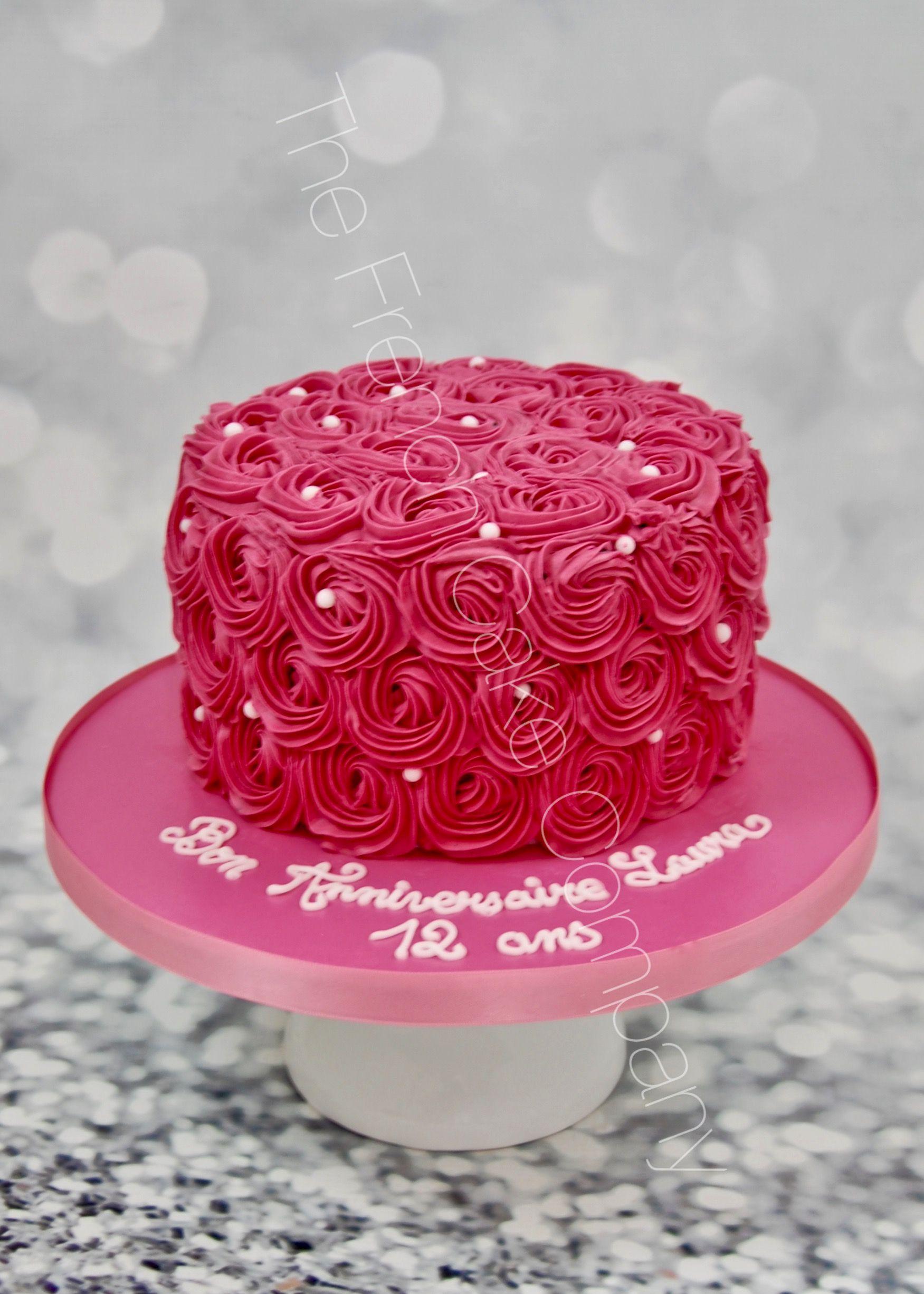 Gorgious Pink Buttercream Roses For A Special Birthday Cake Un