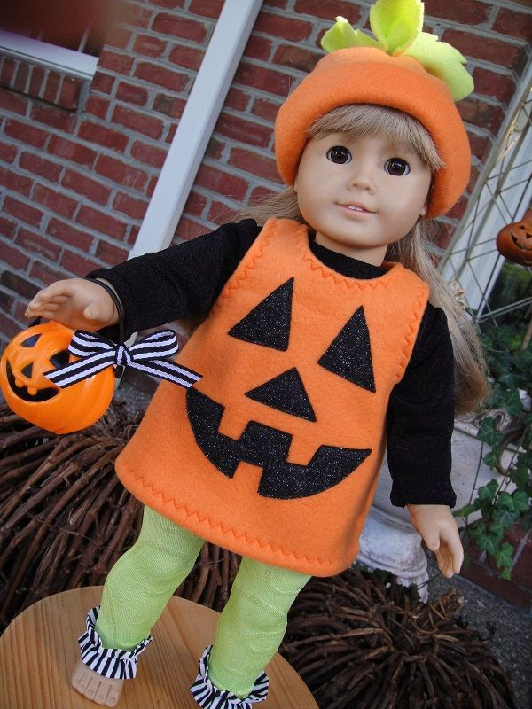 SALE-----Jack o' Lantern Costume for American Girl Doll. $18.00, via Etsy. #dollcostume