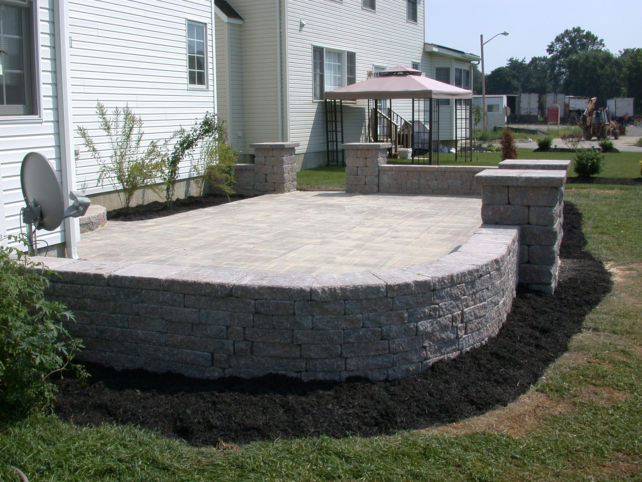 concrete patio on slope concrete patio with flower bed planter