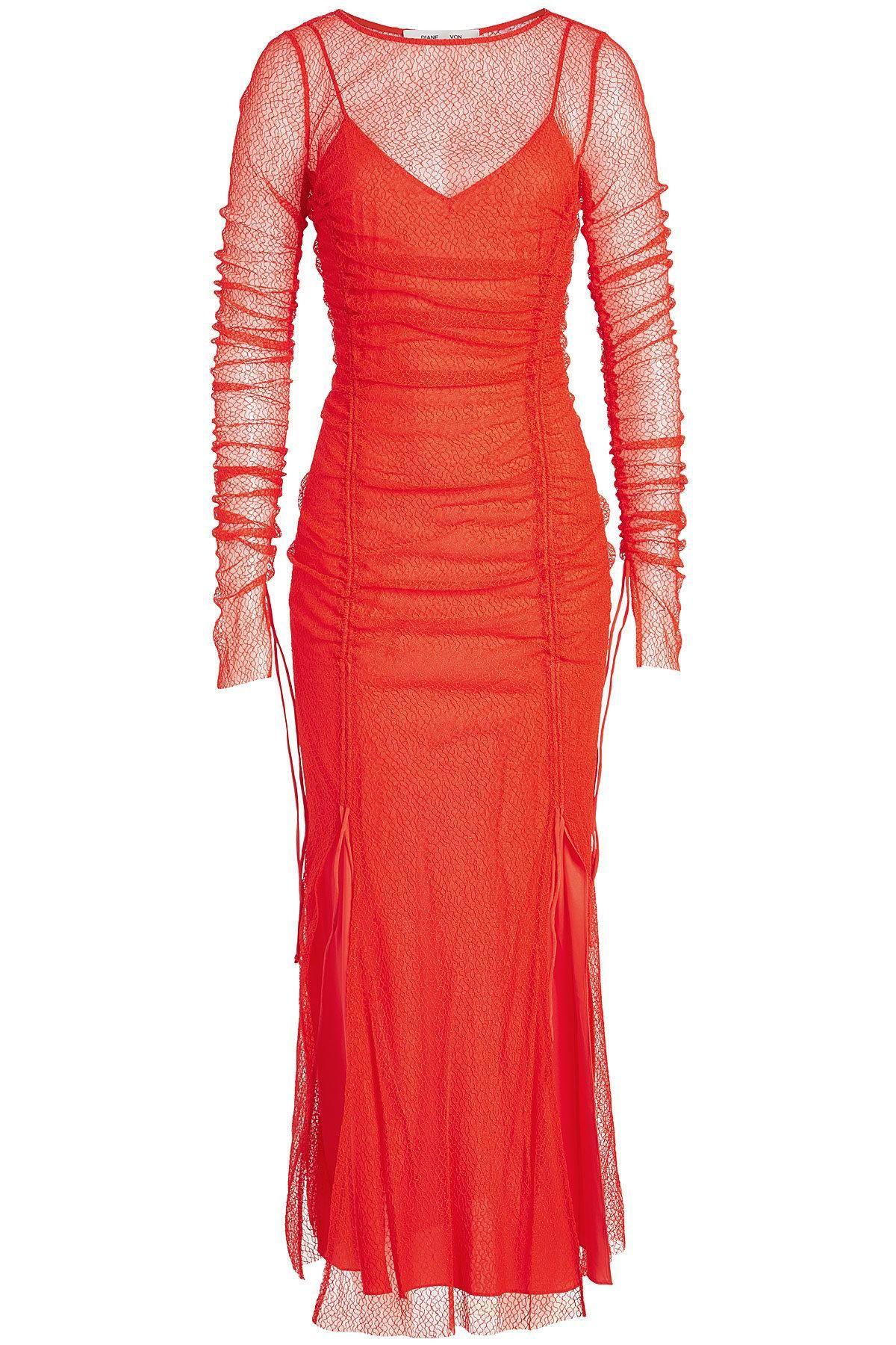 Diane von Furstenberg Cocktailkleid mit Spitzen-Overlay | Pinterest ...