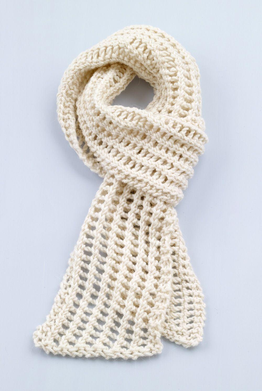 Loom Knit Diagonal Lace Scarf #L10236 pattern by Lion Brand Yarn ...