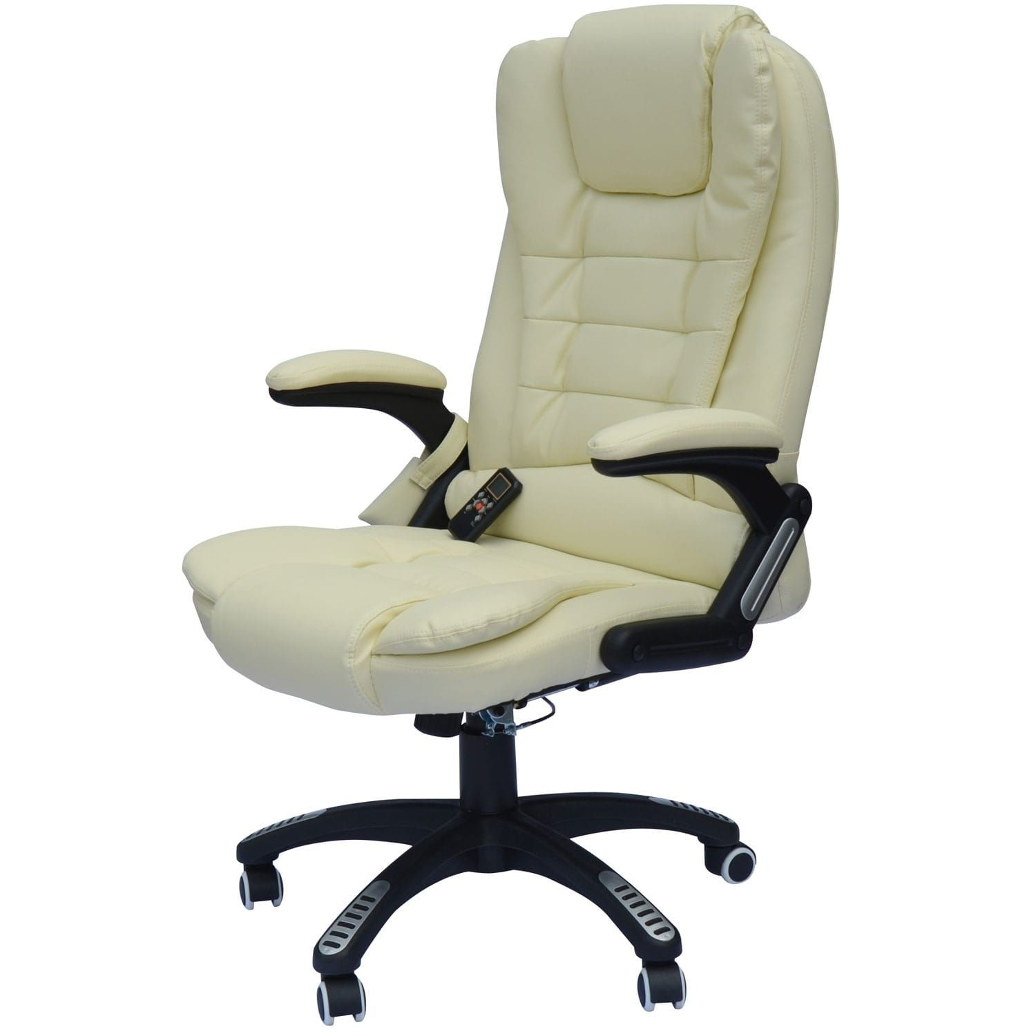 Homcom Faux Leather High Back Executive Heated Massage Office Chair Cream White Massage Office Chair Executive Office Chairs Ergonomic Chair