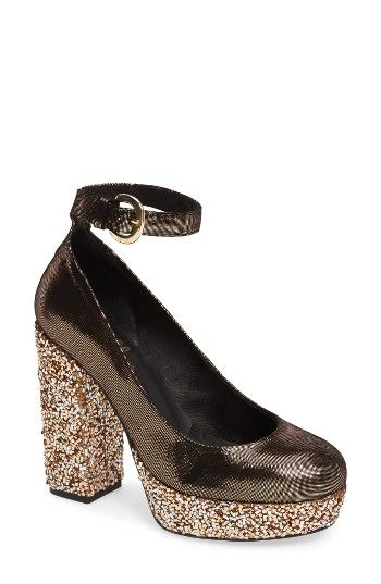 Free shipping and returns on Shellys London Thrift Platform Pump (Women) at Nordstrom.com. A satiny upper positively radiates style and fun on a round-toe pump lifted to new levels of fabulous by a textured glitter heel and platform.