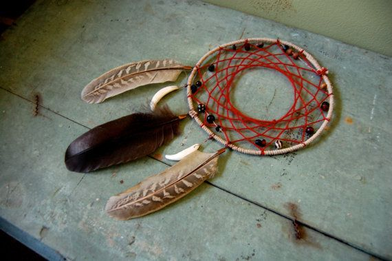 Red Coyote Tooth Tribal Dream Catcher with by TinyLionCreations, $36.00