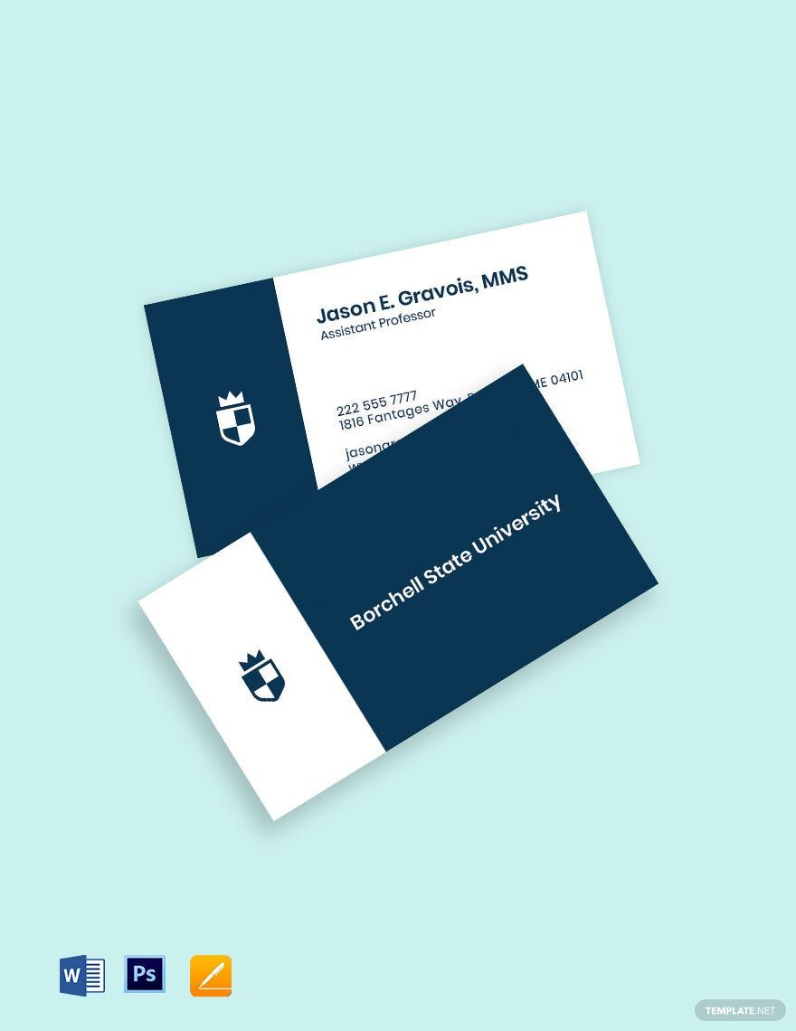 University Assistant Professor Business Card Template Word Apple Pages Psd Template Net In 2021 Business Card Template Word Business Card Template Cool Business Cards