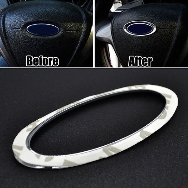 Steering Wheel Central Logo Cover Trim Badge Fit For Ford Focus 13