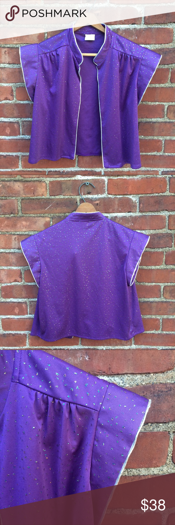 Vintage RollerGirl  Bolero Jacket Super fun in excellent condition ... this roller girl bolero was definitely cruising down the strip and swinging in the disco halls . 1970s vintage measurement : 17.5 length / 15.5 across / sleeves are 8 inches opening Vintage Tops Crop Tops