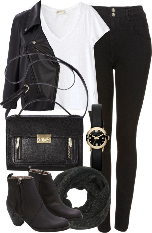Fashion | casual outfit, white Tshirt, black leather jacket, High waisted black jeans, black boots, black bag and scarf