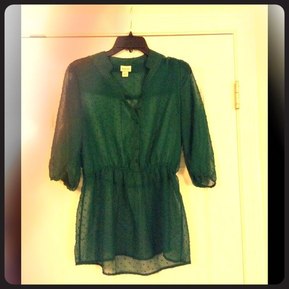 Emerald Green Sheer Top This sheer top from Target has sleeves that fall to the elbows, and cinches in right at the waist. It's perfect over a tank top and with a pair of skinnies!! Mossimo Supply Co Tops