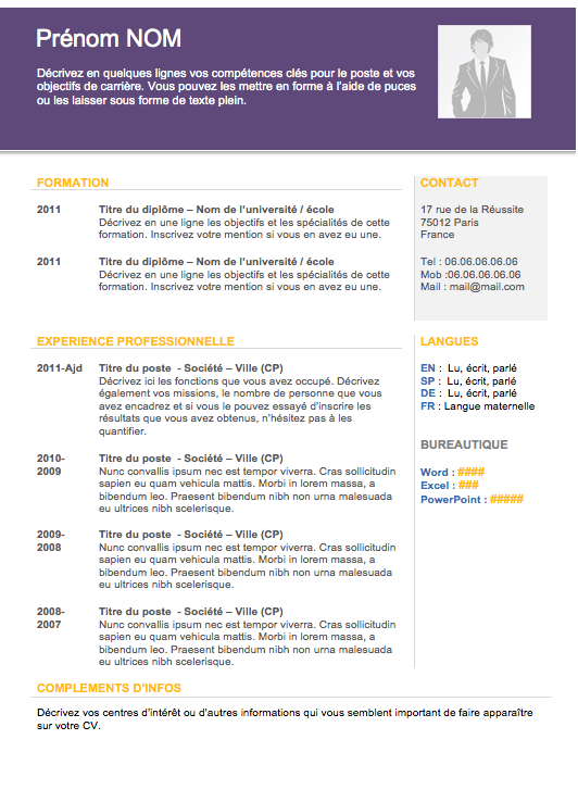 Word Resume Template 2013 Modèle De Cv Word  Cv  Pinterest