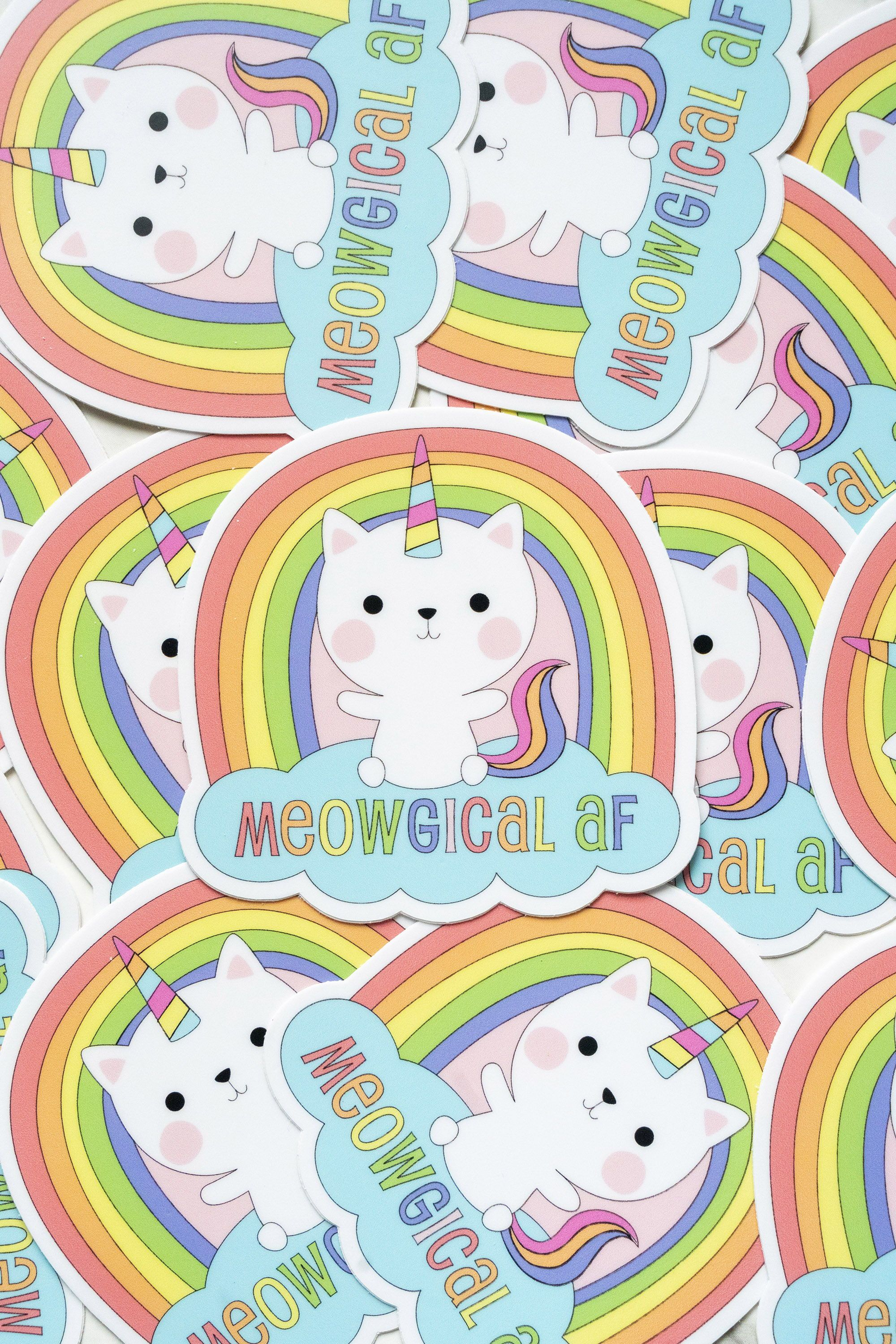 Cute Unicorn Rainbow Cat Vinyl Sticker Cat Car Decal Kawaii