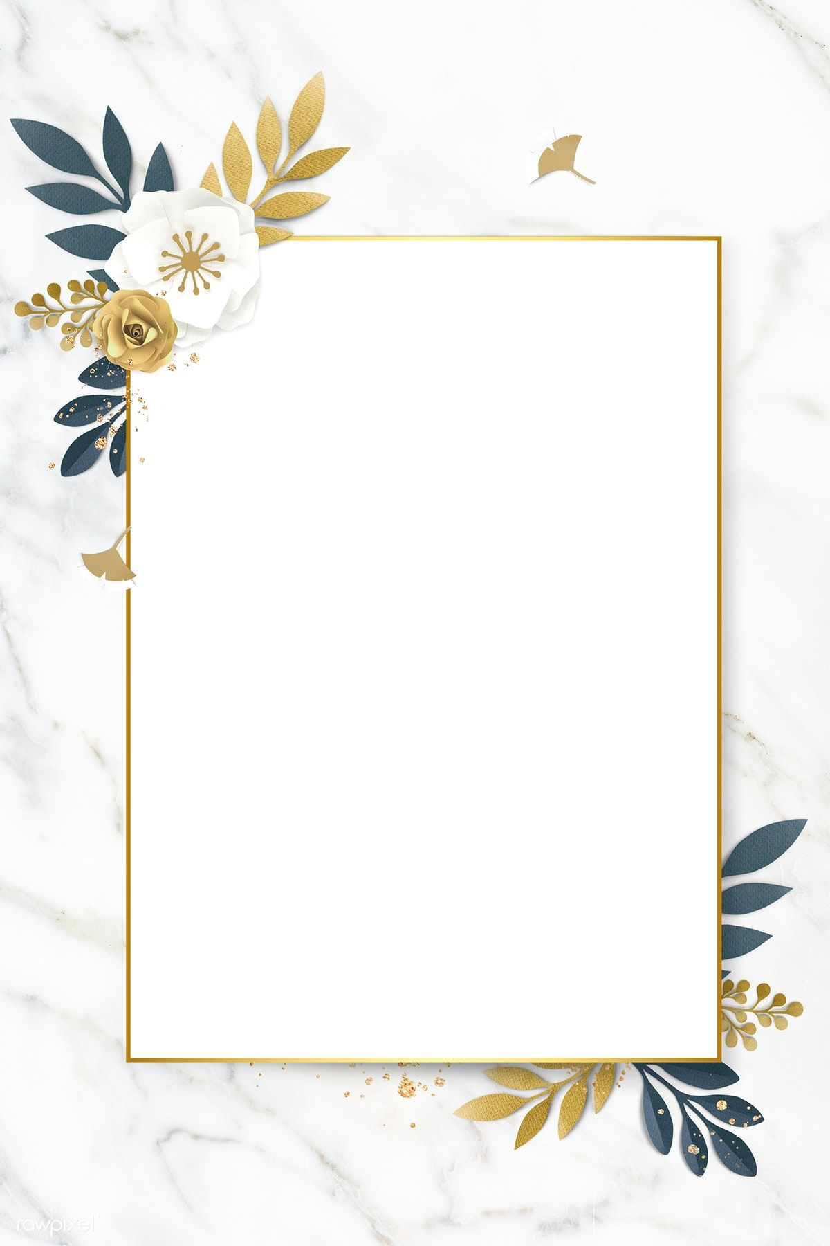 Download Premium Psd Of Rectangle Paper Craft Flower Frame Template Flower Frame Floral Border Design Flower Background Wallpaper