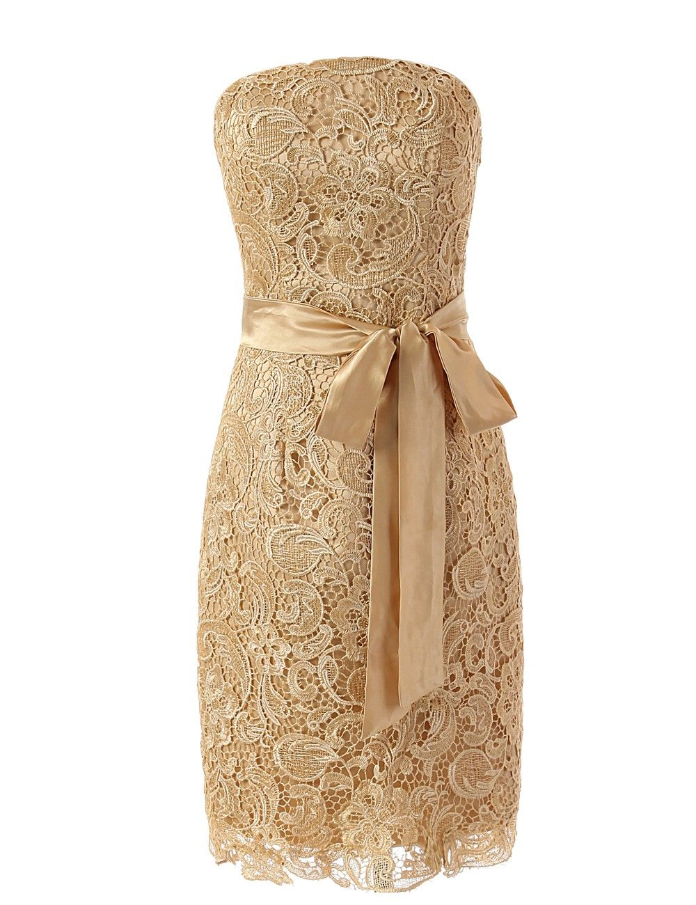 Buy elegant strapless champagne lace short bridesmaid for What to wear under strapless wedding dress