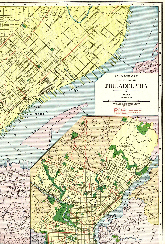 1924 Antique Rare Size Philadelphia Map Of Philadelphia City Map