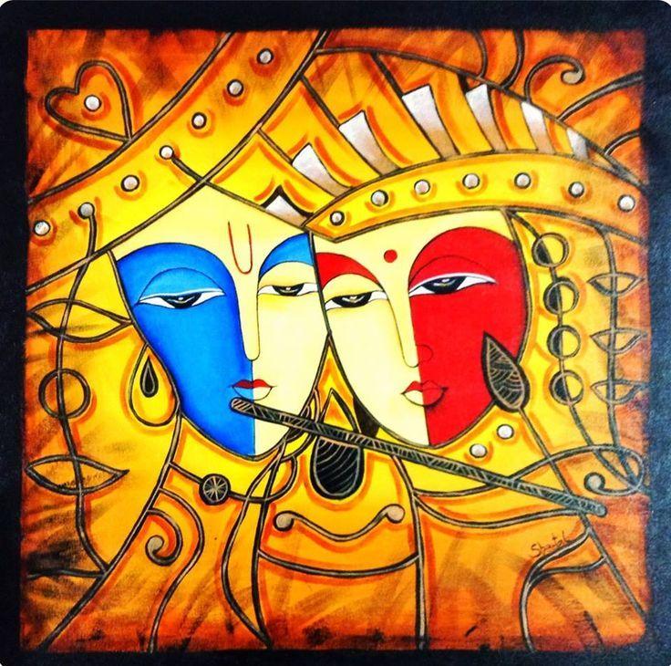 resultado de imagem para radha krishna love paintings abstract